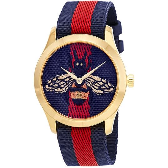 Preload https://img-static.tradesy.com/item/24212874/gucci-gold-tone-blue-red-g-timeless-embroidered-bee-ladies-watch-0-0-540-540.jpg