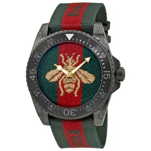 Gucci Dive Bee Embroidered Dial Men's Watch