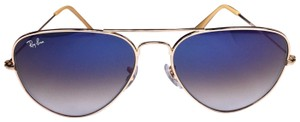 Ray-Ban Ray Ban Aviator Sunglasses Gold With Blue Gradient Lens