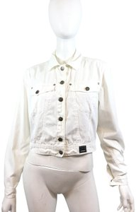 a17523cb4528 Versace Jeans Collection Cotton Vintage Embellished Silver Hardware White Womens  Jean Jacket