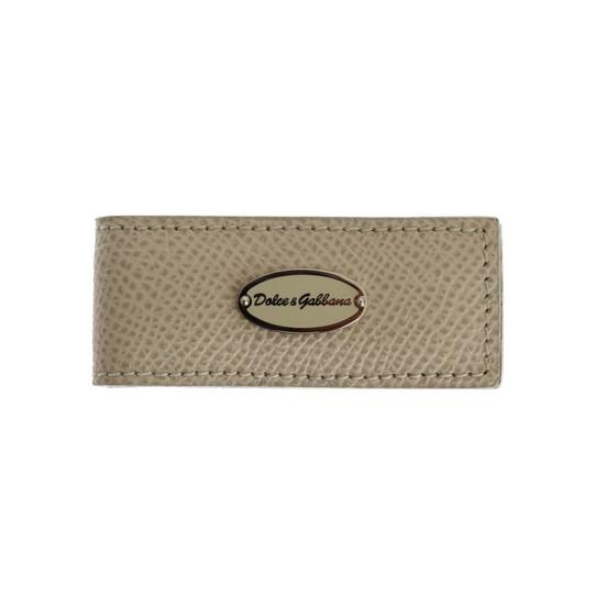 Dolce&Gabbana Beige D31661 Leather Magnet Money Clip Groomsman Gift Image 1