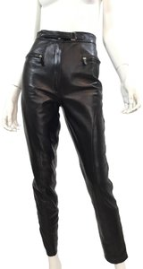 Gucci Leather Lambskin Vintage Silver Hardware Straight Pants Black