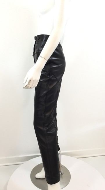 Gucci Leather Lambskin Vintage Silver Hardware Straight Pants Black Image 1