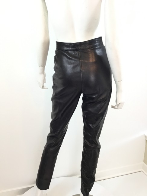 Gucci Leather Lambskin Vintage Silver Hardware Straight Pants Black Image 2