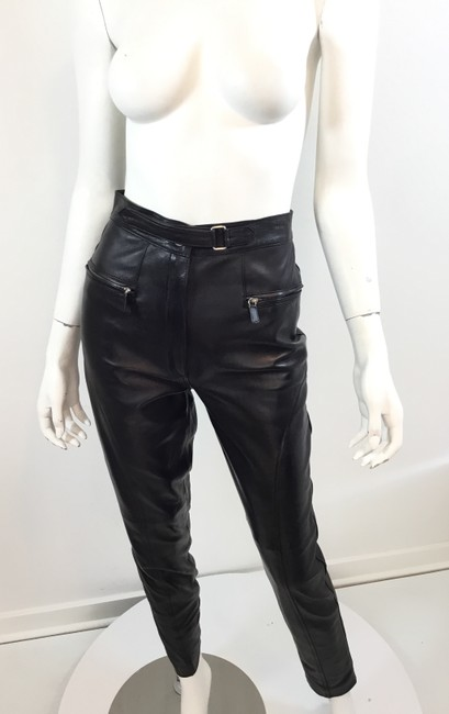 Gucci Leather Lambskin Vintage Silver Hardware Straight Pants Black Image 3