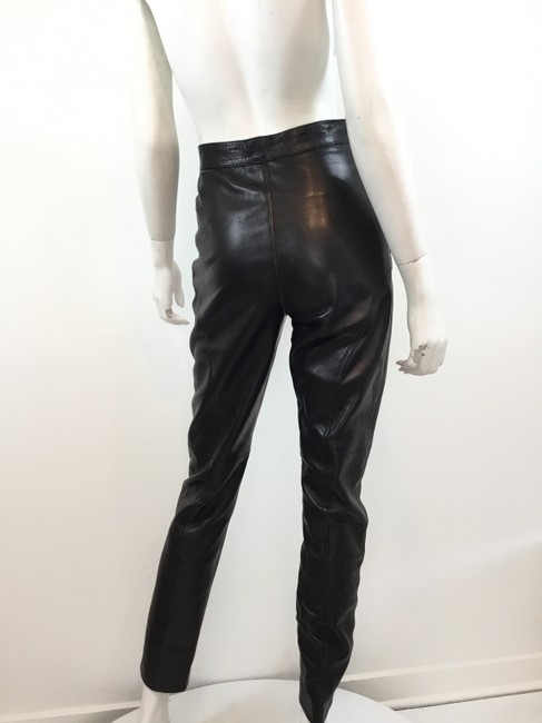 Gucci Leather Lambskin Vintage Silver Hardware Straight Pants Black Image 4