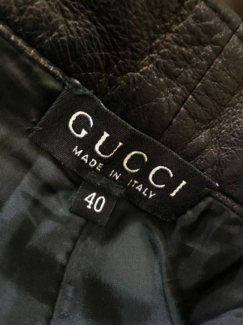 Gucci Leather Lambskin Vintage Silver Hardware Straight Pants Black Image 8