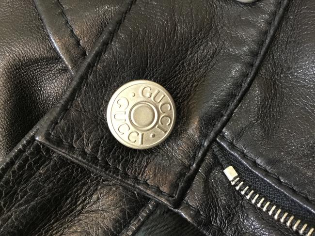 Gucci Leather Lambskin Vintage Silver Hardware Straight Pants Black Image 9