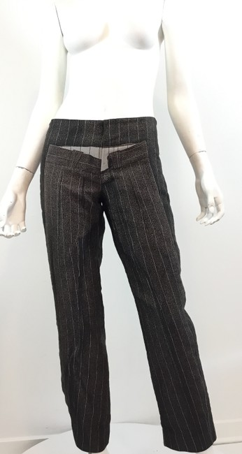Jean-Paul Gaultier Pinstripe Striped Embroidered Vintage Artsy Trouser Pants Black Image 1