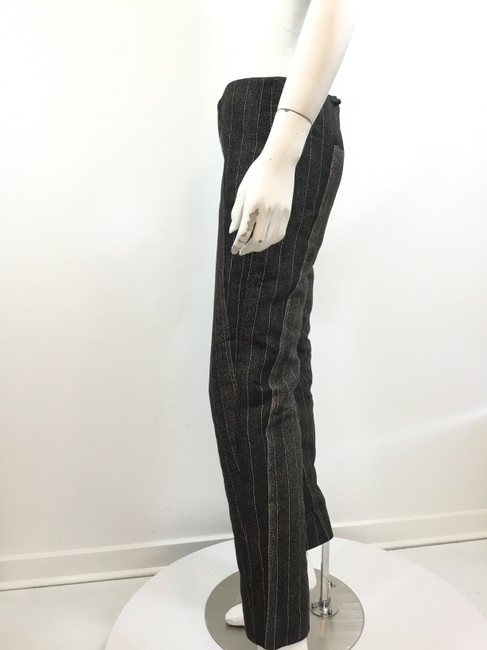 Jean-Paul Gaultier Pinstripe Striped Embroidered Vintage Artsy Trouser Pants Black Image 2