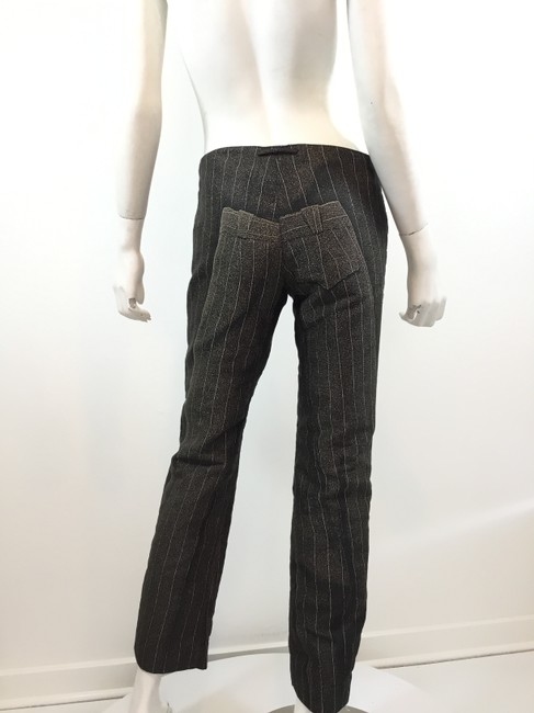 Jean-Paul Gaultier Pinstripe Striped Embroidered Vintage Artsy Trouser Pants Black Image 3