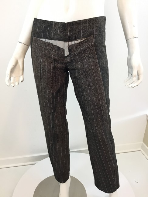 Jean-Paul Gaultier Pinstripe Striped Embroidered Vintage Artsy Trouser Pants Black Image 4