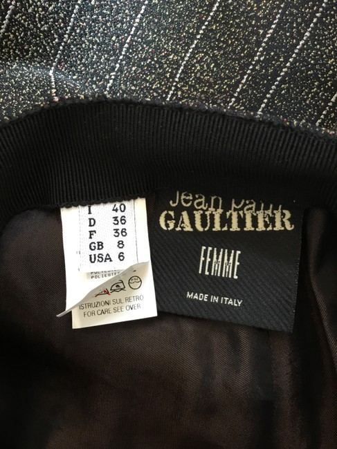 Jean-Paul Gaultier Pinstripe Striped Embroidered Vintage Artsy Trouser Pants Black Image 5