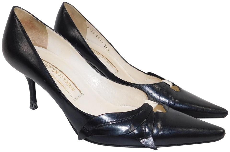 c36b94560a09b Sergio Rossi Black Point Toe Leather Stilettos Pumps Size EU 36.5 (Approx.  US 6.5) Regular (M, B) 89% off retail