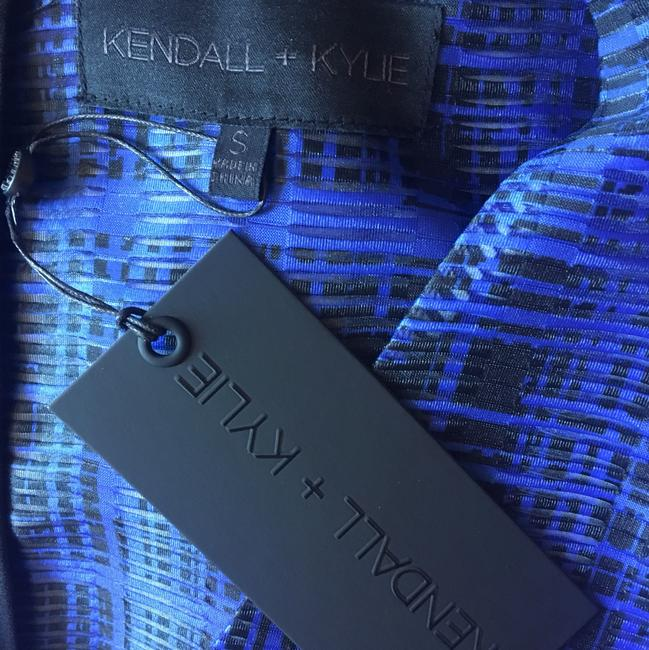 Kendall + Kylie Peplum Lace Up Top Black & Blue Image 4