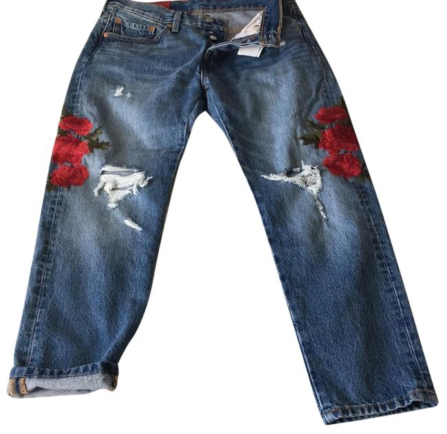 Item - Blue and Red Medium Wash New Taper Rose Embroidered Capri/Cropped Jeans Size 4 (S, 27)
