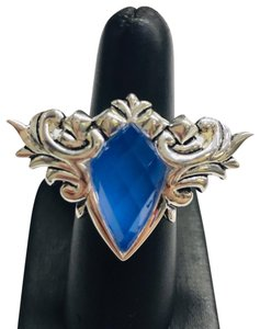 Stephen Webster NEVER WORN!!! Stephen Webster Superstud Baroque Silver Blue Agate and Clear Quartz Crystal Haze Spike Ring Sterling Silver Blue Agate and Clear Crystal weighing 10.42 carats total weight 24.8 grams Size 7 100% Authentic Guaranteed!! Comes with Original Stephen Webster Pouch!!!