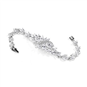Mariell Cubic Zirconia Cluster Bridal Bracelet With Dainty Marquis Stones 4014b-s-7