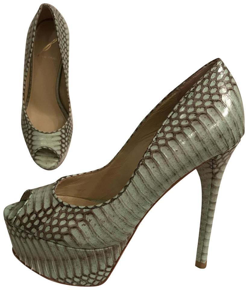 ca988b7a7fc Brian Atwood Green Gray Leather Embossed Python/Snakeskin Open Toe Vero  Cuoio Pumps Size US 6 Regular (M, B) 79% off retail