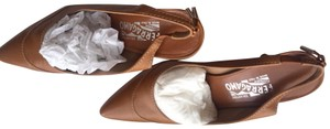 Salvatore Ferragamo Size 8.5 And Used Once Calfskin fawn Sandals
