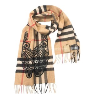 Burberry Classic Cashmere Scarf in check with lace embroidery