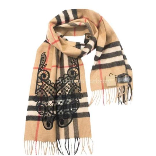 Preload https://img-static.tradesy.com/item/24213345/burberry-camelblack-classic-cashmere-in-check-with-lace-embroidery-scarfwrap-0-0-540-540.jpg