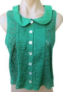 Plenty by Tracy Reese Anthropologie Lace Size Medium Sleeveless Top Green