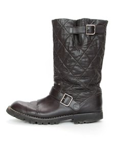 Chanel Biker Quilted Leather Buckle Moto Brown Boots