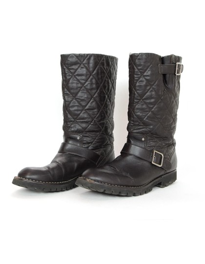 Chanel Biker Quilted Leather Buckle Moto Brown Boots Image 1