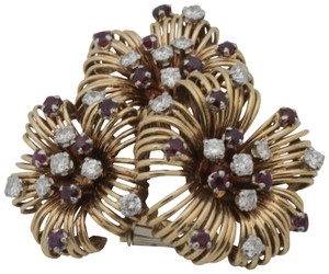 Other Antique Ruby Diamond Flower Pin Brooch- 18k Yellow Gold