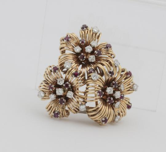 Other Antique Ruby Diamond Flower Pin Brooch- 18k Yellow Gold Image 1