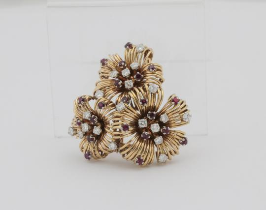 Other Antique Ruby Diamond Flower Pin Brooch- 18k Yellow Gold Image 2