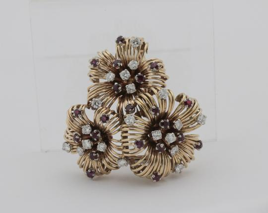 Other Antique Ruby Diamond Flower Pin Brooch- 18k Yellow Gold Image 3