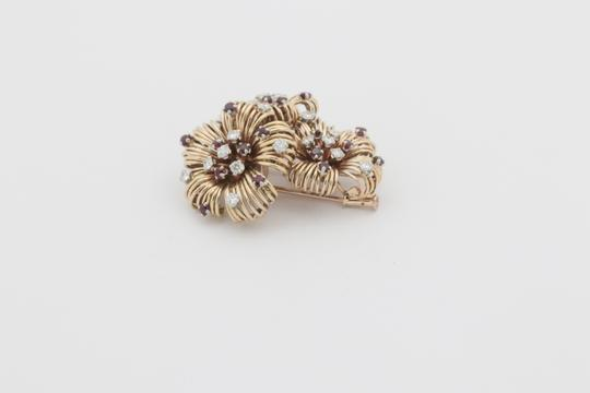 Other Antique Ruby Diamond Flower Pin Brooch- 18k Yellow Gold Image 5