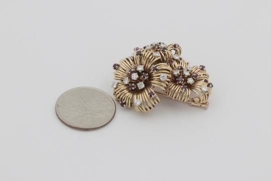 Other Antique Ruby Diamond Flower Pin Brooch- 18k Yellow Gold Image 6