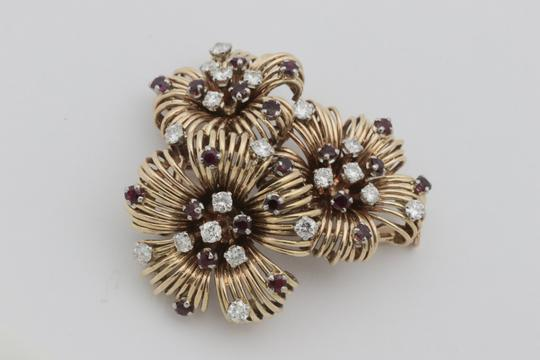 Other Antique Ruby Diamond Flower Pin Brooch- 18k Yellow Gold Image 7