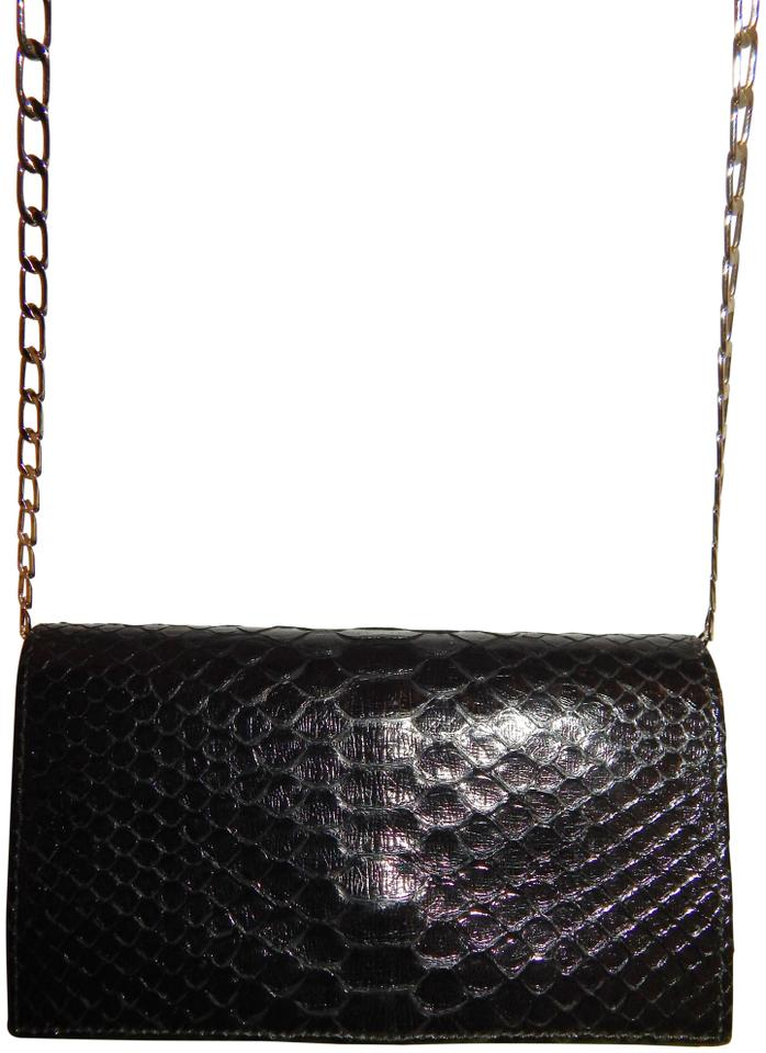 9389477f976e Carlos Falchi Snake Chain Small Clutch Black Snakeskin Leather ...