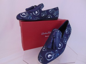 Salvatore Ferragamo Blue Finnegan Motorcycle Print Fabric Tassel Loafers 9.5 M Shoes