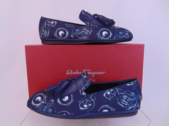 Salvatore Ferragamo Blue Finnegan Motorcycle Print Fabric Tassel Loafers 9.5 M Shoes Image 1