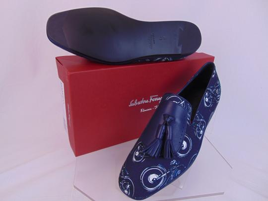 Salvatore Ferragamo Blue Finnegan Motorcycle Print Fabric Tassel Loafers 9.5 M Shoes Image 2
