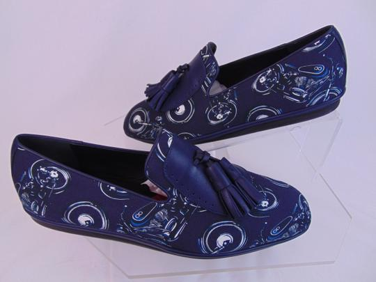 Salvatore Ferragamo Blue Finnegan Motorcycle Print Fabric Tassel Loafers 9.5 M Shoes Image 3