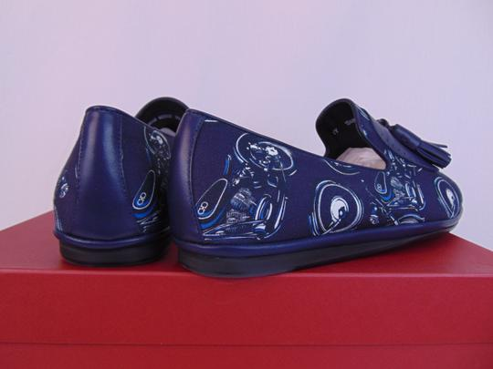 Salvatore Ferragamo Blue Finnegan Motorcycle Print Fabric Tassel Loafers 9.5 M Shoes Image 4