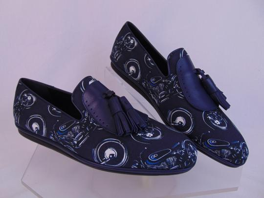 Salvatore Ferragamo Blue Finnegan Motorcycle Print Fabric Tassel Loafers 9.5 M Shoes Image 6