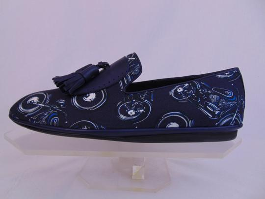 Salvatore Ferragamo Blue Finnegan Motorcycle Print Fabric Tassel Loafers 9.5 M Shoes Image 7