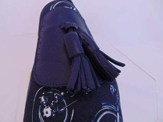 Salvatore Ferragamo Blue Finnegan Motorcycle Print Fabric Tassel Loafers 9.5 M Shoes Image 9