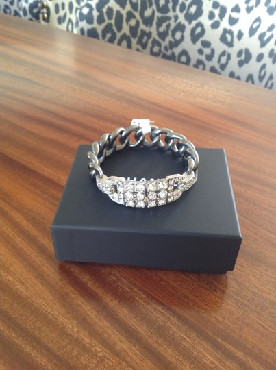 Chanel Authentic Chanel Deco Crystal Ruthenium Chain Bangle. BNWT Image 1