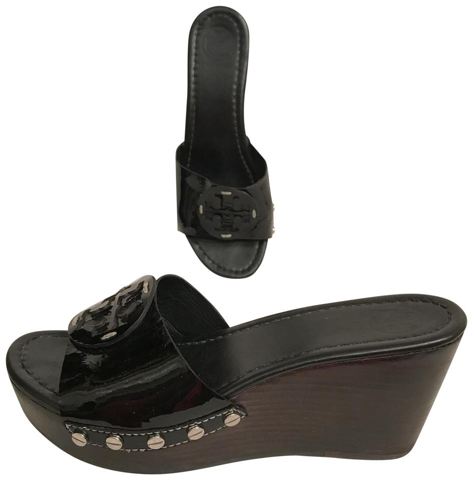 068b58e557d Tory Burch Platform Patent Leather Leather Wedge Mule Black Sandals Image 0  ...