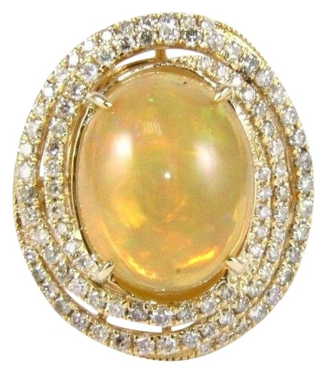 Preload https://img-static.tradesy.com/item/24213608/yellow-and-gold-oval-opal-solitaire-wdiamond-swirl-halo-14k-yg-811ct-ring-0-1-540-540.jpg