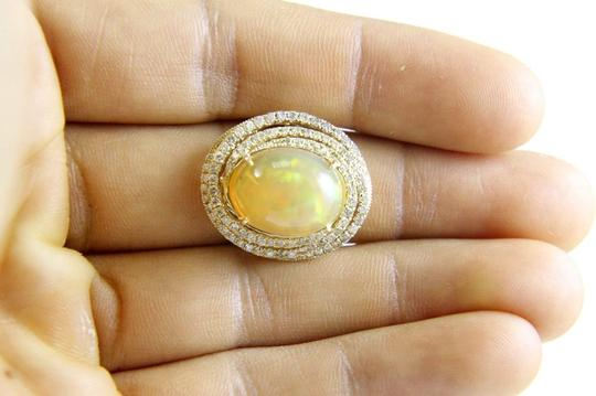 Other Oval Opal Solitaire Ring w/Diamond Swirl Halo 14k YG 8.11Ct Image 3