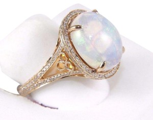 Other Huge Oval Cut Opal Ring w/Diamond Halo & Accents 14k RG 6.34Ct